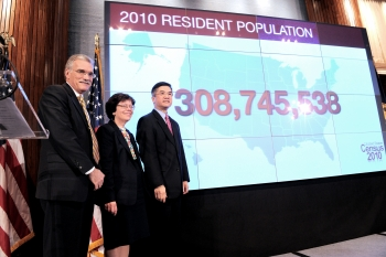 Secretary Locke, Acting Deputy Secretary Blank and Census Director Groves Stand Before the Official Population of the United States (April 1, 2010)