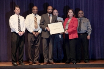 The winning team from NIST. From left to right:  Brian Dougherty (NIST), Dennis Campbell (NIST), Frederick Stephens (Deputy Assistant Secretary for Administration and Senior Sustainability Officer), Daniel Gilmore (NIST), Stella Fiotes (NIST Chief Facilities Management Officer), and Jatin Patel (NIST).