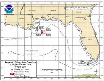 NOAA map: Tuesday, April 19, 2011: The last area in federal waters closed to fishing due to the oil spill reopens (