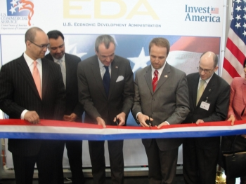 U.S. Ambassador to Germany Philip Murphy and Deputy Assistant Secretary of Commerce for Economic Development Brian McGowan open the Invest in America Pavilion at Hannover Messe 2011.