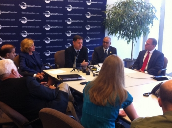 Members of the Detroit Regional Chamber pictured meeting with Fernandez and Baruah