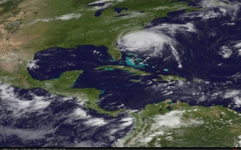 NOAA satellite image of Hurricane Irene (NOAA photo, Aug. 26)
