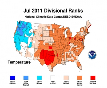 Infographic of U.S. showing temperature differences