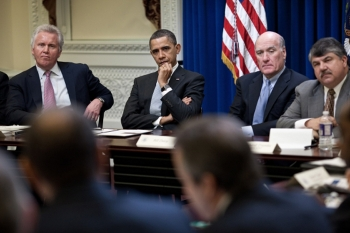 President Barack Obama meets with the members of the President's Council on Jobs and Competitiveness in the Eisenhower Executive Office Building, Feb. 24, 2011. From left are; General Electric CEO Jeffrey Immelt, chair of the Council on Jobs and Competitiveness; President Obama; Chief of Staff Bill Daley; and AFL-CIO President Richard Trumka. (Official White House Photo by Pete Souza)