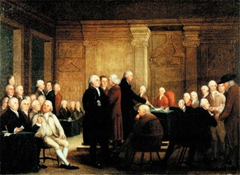 Painting of signers of the Declaration of Independence