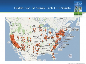 Map of U.S. showing distribution of Green Tech patents