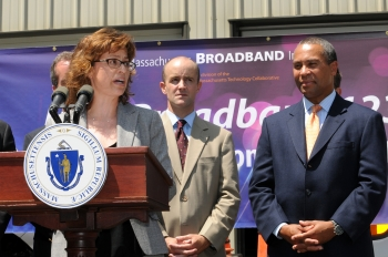 Anna M. Gomez with Mass. State Senator Ben Downing and Governor Deval Patrick at the MassBroadband 123 kick-off in Sandisfield, Mass.