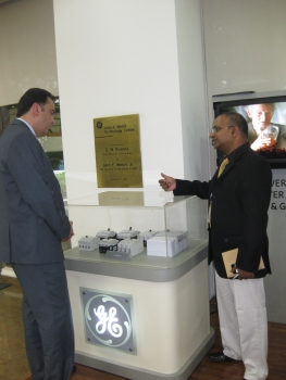Assistant Secretary Camunez with one of the Research Directors at the GE Jack Welch Technology Center in Bangalore, India.