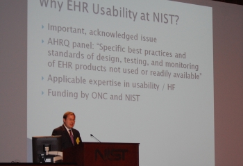 Matt Quinn of NIST with large projection screen