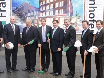 U.S. Assistant Secretary John Fernandez with Mayor Thomas Menino, Fraunhofer USA, and local leaders at the groundbreaking of the $19.5 million Fraunhofer Center for Sustainable Energy Systems in Boston's Innovation District.