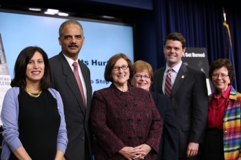 "Acting Deputy Secretary Blank joins Attorney General Holder and other Administration Officials at the kickoff event for the IP campaign ""Counterfeits Hurt. You Have The Power to Stop Them."""
