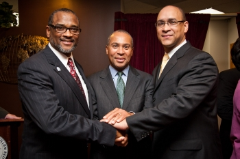 Dr. Frederick McKinney, President & CEO, Greater New England Minority Supplier Development Council, Massachusetts Governor Deval Patrick, and MBDA National Director David Hinson