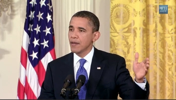 President Obama urges passage of American Jobs Act (White House news conference photo)