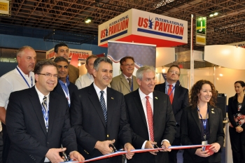 Under Secretary of Commerce for International Trade Francisco J. Sánchez inaugurating the U.S. Pavilion at the Offshore Technologies Conference in Rio de Janeiro, Brazil