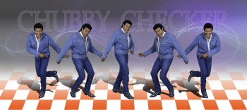 Five images of Chubby Checker doing the Twist