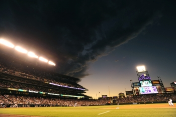 Ominous Clouds Approaching Coors Field (credit: Rich Clarkson and Assoc)
