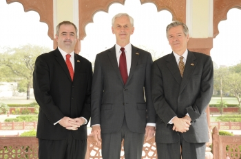 Henry Steingass (far right), USTDA Regional Director, and Mark Dunn (far left), USTDA Regional Manager, pose for a photo with Commerce Secretary John Bryson during a luncheon in Mumbai Mar. 26, 2012