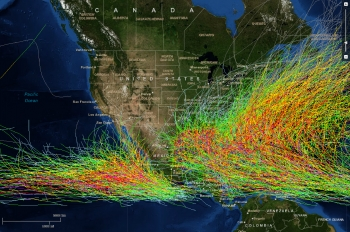 Map of U.S. with storm and hurricane trackings