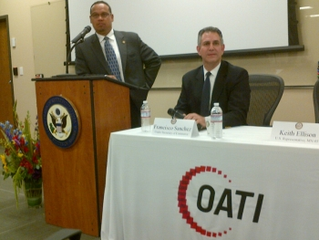 Congressman Keith Ellison (MN-5) and Under Secretary Francisco Sánchez take questions from local companies during a business round table event in Minneapolis.