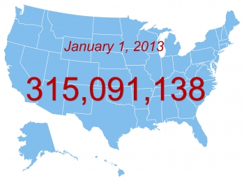 Map of U.S. with Jan 1, 2013 and population projection overlay