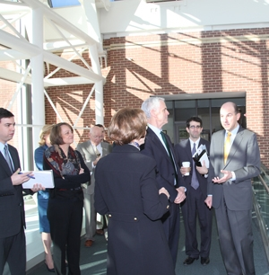USPTO Director Kappos gives Secretary Bryson a tour of the Alexandria campus. Several other staff members were also on the tour.