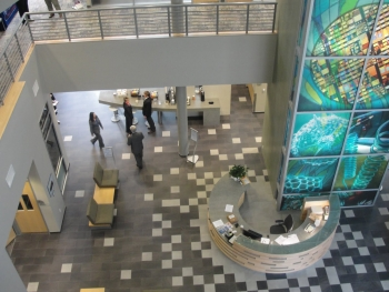 View of incubation hub lobby from balcony