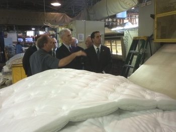 Secretary Bryson tours Paramount Sleep in Norfolk, VA with Richard Diamonstein, President of their Commercial Division