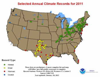 Map of U.S. showing wettest, driest, coolest, warmest regions by colored dots