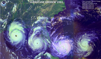 Satellite image of Hurricane Andrew, 1992