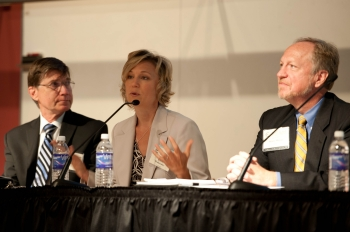 NIST's Curt Barker, Karen Waltermire, and Henry Wixon are seen explaining how interested parties can get involved