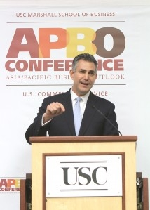 Under Secretary of Commerce for International Trade Francisco Sánchez speaks during the APBO Conference (Photo USC Marshall School of Business)