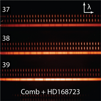 "Infrared starlight (three solid band) by comparing the missing light to a laser frequency comb reference ""ruler"" (sets of bright vertical bars indicating precise wavelengths, which increase from left to right).  Credit: CU/NIST/Penn State"