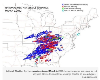 NOAA Infographic of Severe Storm and Tornado Watches and Warnings, March 2, 2012