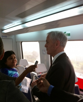 Secretary Bryson rides New Delhi's new Metro Airport Express line