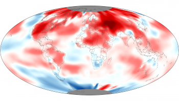 Most of the globe's land areas experienced warmer-than-average temperatures, resulting in the second-warmest April land temperature, behind 2007 (Credit: NOAA Visualization Lab)