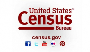Image of Census bureau with social medai icons and website address