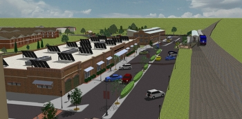 An architect's rendering of Conover Station in Hickory, North Carolina. The new home of the Manufacturing Solutions Center is being built with help from the Economic Development Administration. (photo courtesy Conover Station)