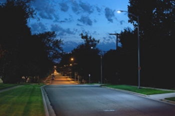 An LED streetlight installation by EcoFit Lighting of Lenexa, Kansas, working with the Advanced Manufacturing Institute, an EDA University Center. (Photo: EcoFit Lighting)