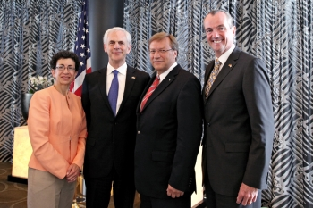 Consul General Janice G. Weiner; Commerce Secretary John Bryson; NRW Economics Minister Harry K. Voigtsberger; U.S. Ambassador to Germany, Philip D. Murphy.