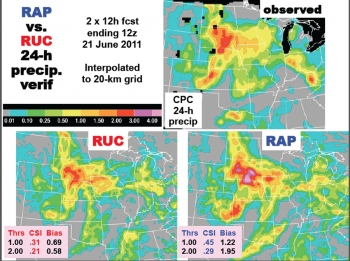 Rapid Refresh (or RAP, lower right) performed better than the older RUC model (lower left) in predicting severe weather conditions that occurred in the Midwest on June 21, 2011 (upper right).
