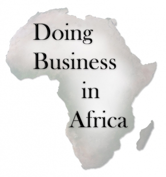 "Map of Africa with text ""Doing Business in Africa"""
