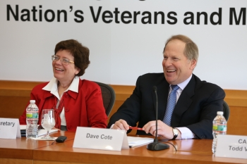 Acting Secretary Rebecca Blank and Honeywell CEO David Cote at a Joining Forces Veterans Hiring Event