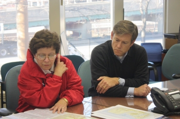 Acting Secretary Blank and Acting Assistant Secretary Erskine survey a map of the Port of Newark