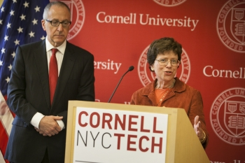 Acting Secretary Rebecca Blank announces a first-of-its-kind campus collaboration that will provide Commerce resources directly to students, faculty and industry (photo credit: Lindsay France/University Photography, Cornell)