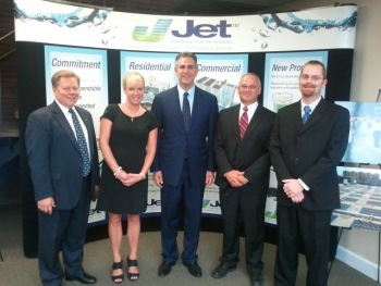 "Under Secretary Francisco Sanchez (center) meets with Jet Inc.'s President Ron Swinko (far left) and other staff at their manufacturing facility in Cleveland, OH as part of the ""Made in America Manufacturing Tour."" in October 2012."