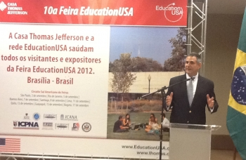 Under Secretary for International Trade Francisco J. Sánchez launches the EducationUSA Fair in Brazilia, Brazil on September 1, 2012.