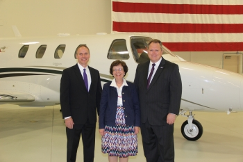 Mayor Scott Smith, Able Engineering President and CEO Lee Benson and Deputy Secretary of Commerce Rebecca Blank During a Tour of the Able Engineering Facility in Mesa, Arizona