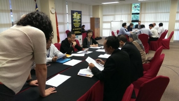 Industry representatives from nations within the Asia-Pacific region attend a business ethics workshop with the Malaysian Anti-Corruption Academy in August 2013.