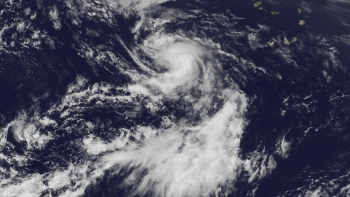 Image of Tropical Storm Dorian on July 24, 2013, from NOAA's GOES East satellite.
