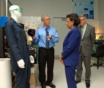 Secretary Pritzker tours the NIST Trace Contraband Detection laboratory with Acting Deputy Secretary and NIST Director Patrick Gallagher.  The laboratory helps law enforcement agencies protect the public and enforce the law by developing improved methods and standards for trace detection of drugs and explosives.
